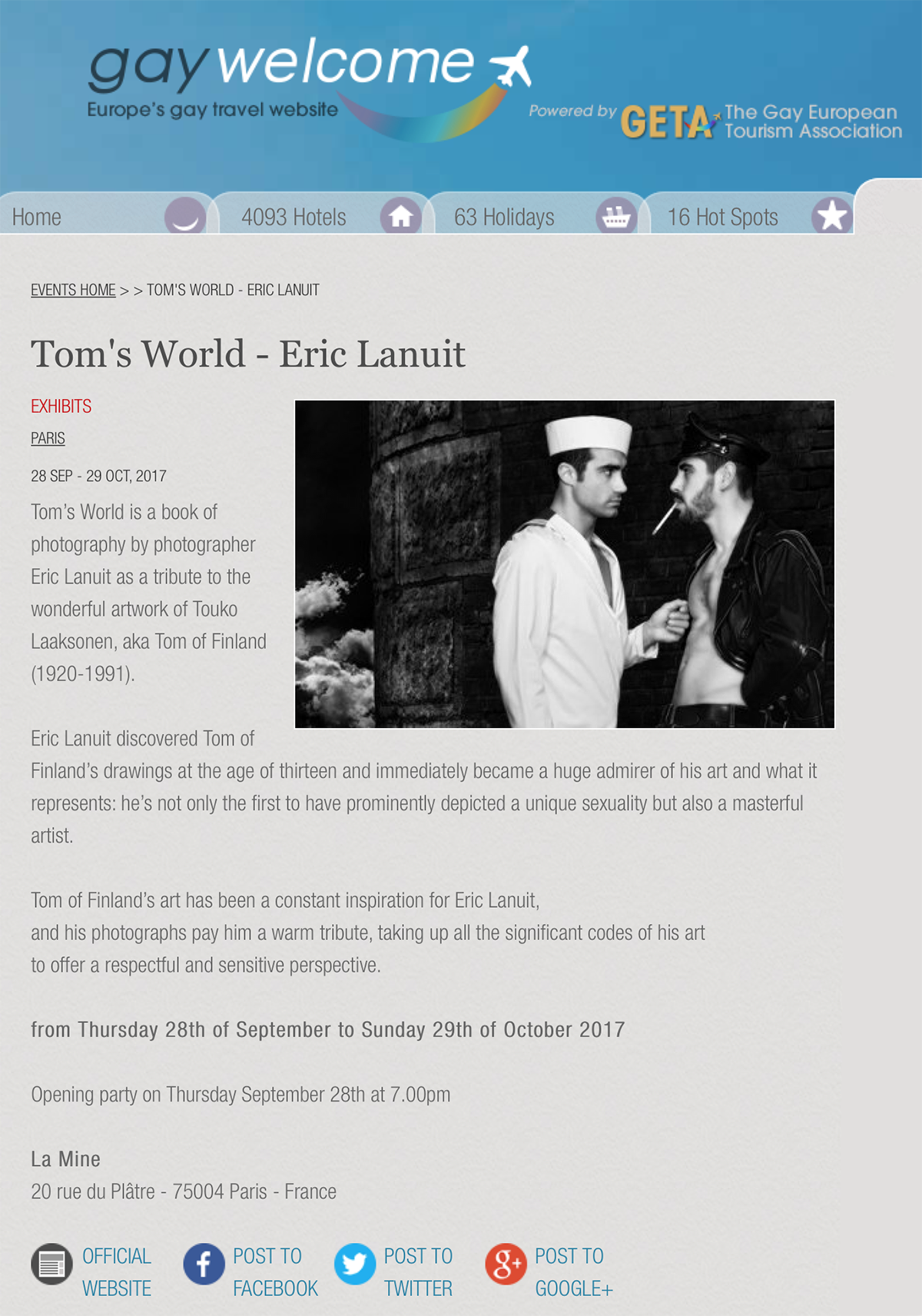 Gay Welcome 2 - Tom's World by Eric Lanuit